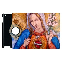 Immaculate Heart Of Virgin Mary Drawing Apple Ipad 2 Flip 360 Case by KentChua