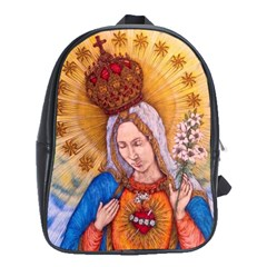 Immaculate Heart Of Virgin Mary Drawing School Bags (XL)  by KentChua