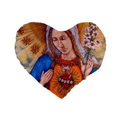 Immaculate Heart Of Virgin Mary Drawing Standard 16  Premium Heart Shape Cushions by KentChua