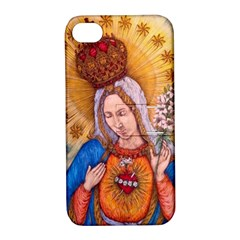 Immaculate Heart Of Virgin Mary Drawing Apple Iphone 4/4s Hardshell Case With Stand by KentChua