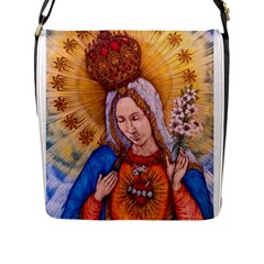 Immaculate Heart Of Virgin Mary Drawing Flap Messenger Bag (l)  by KentChua
