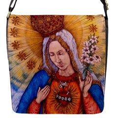 Immaculate Heart Of Virgin Mary Drawing Flap Messenger Bag (s) by KentChua