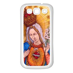 Immaculate Heart Of Virgin Mary Drawing Samsung Galaxy S3 Back Case (white) by KentChua