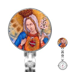 Immaculate Heart Of Virgin Mary Drawing Stainless Steel Nurses Watches by KentChua