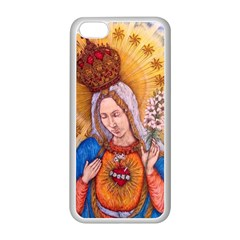 Immaculate Heart Of Virgin Mary Drawing Apple Iphone 5c Seamless Case (white) by KentChua