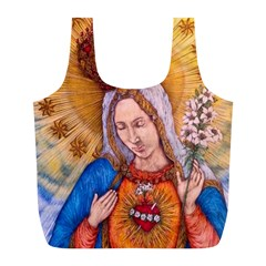 Immaculate Heart Of Virgin Mary Drawing Full Print Recycle Bags (l)  by KentChua