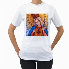 Immaculate Heart Of Virgin Mary Drawing Women s T Shirt (white)  by KentChua