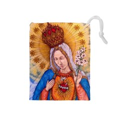 Immaculate Heart Of Virgin Mary Drawing Drawstring Pouches (medium)  by KentChua