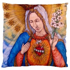 Immaculate Heart Of Virgin Mary Drawing Large Flano Cushion Cases (two Sides)  by KentChua