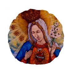 Immaculate Heart Of Virgin Mary Drawing Standard 15  Premium Flano Round Cushions by KentChua
