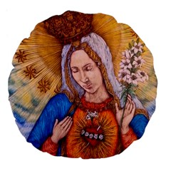 Immaculate Heart Of Virgin Mary Drawing Large 18  Premium Flano Round Cushions by KentChua