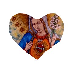 Immaculate Heart Of Virgin Mary Drawing Standard 16  Premium Flano Heart Shape Cushions by KentChua