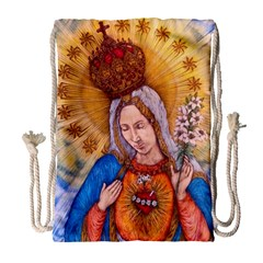 Immaculate Heart Of Virgin Mary Drawing Drawstring Bag (large) by KentChua