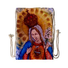 Immaculate Heart Of Virgin Mary Drawing Drawstring Bag (small) by KentChua