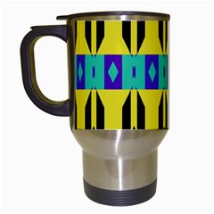 Rhombus And Other Shapes Pattern Travel Mug (white) by LalyLauraFLM