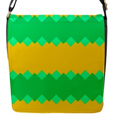 Green Rhombus Chains 			flap Closure Messenger Bag (s) by LalyLauraFLM