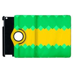 Green Rhombus Chains apple Ipad 3/4 Flip 360 Case by LalyLauraFLM