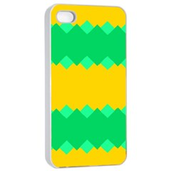Green Rhombus Chains 			apple Iphone 4/4s Seamless Case (white) by LalyLauraFLM