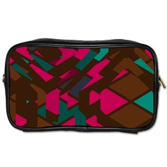 Brown Pink Blue Shapes Toiletries Bag (two Sides) by LalyLauraFLM