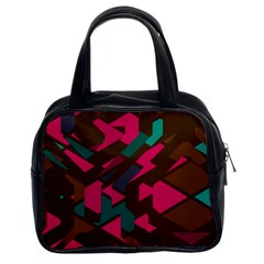 Brown Pink Blue Shapes Classic Handbag (two Sides)