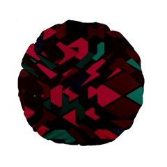 Brown Pink Blue Shapes standard 15  Premium Flano Round Cushion by LalyLauraFLM