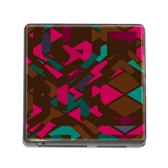 Brown Pink Blue Shapes memory Card Reader (square) by LalyLauraFLM