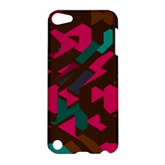 Brown Pink Blue Shapes 			apple Ipod Touch 5 Hardshell Case by LalyLauraFLM