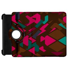 Brown Pink Blue Shapes kindle Fire Hd Flip 360 Case by LalyLauraFLM