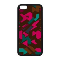 Brown Pink Blue Shapes apple Iphone 5c Seamless Case (black) by LalyLauraFLM