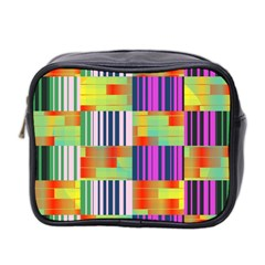 Vertical And Horizontal Stripes Mini Toiletries Bag (two Sides) by LalyLauraFLM
