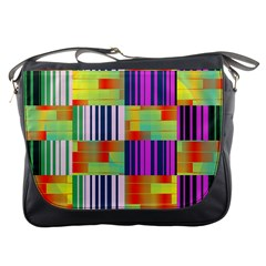 Vertical And Horizontal Stripes 			messenger Bag by LalyLauraFLM