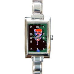 Edgar Allan Poe Pop Art  Rectangle Italian Charm Watches by icarusismartdesigns