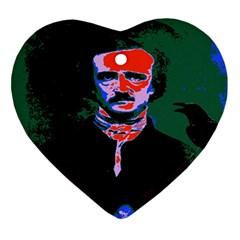 Edgar Allan Poe Pop Art  Ornament (heart)  by icarusismartdesigns