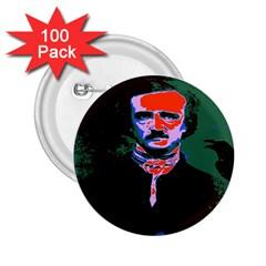 Edgar Allan Poe Pop Art  2 25  Buttons (100 Pack)  by icarusismartdesigns