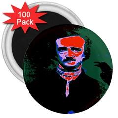 Edgar Allan Poe Pop Art  3  Magnets (100 Pack) by icarusismartdesigns