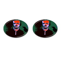 Edgar Allan Poe Pop Art  Cufflinks (oval) by icarusismartdesigns