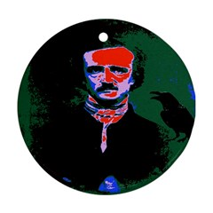 Edgar Allan Poe Pop Art  Round Ornament (two Sides)  by icarusismartdesigns