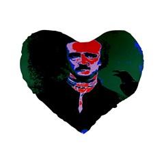 Edgar Allan Poe Pop Art  Standard 16  Premium Flano Heart Shape Cushions by icarusismartdesigns