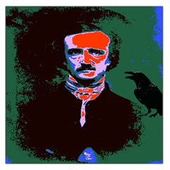 Edgar Allan Poe Pop Art  Large Satin Scarf (square) by icarusismartdesigns