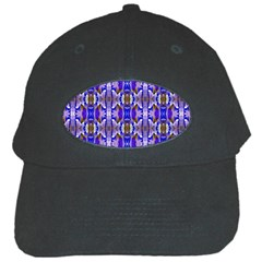 Blue White Abstract Flower Pattern Black Cap by Costasonlineshop