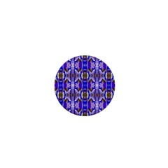 Blue White Abstract Flower Pattern 1  Mini Magnets