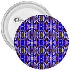 Blue White Abstract Flower Pattern 3  Buttons