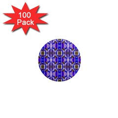 Blue White Abstract Flower Pattern 1  Mini Magnets (100 Pack)