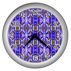 Blue White Abstract Flower Pattern Wall Clocks (silver)  by Costasonlineshop