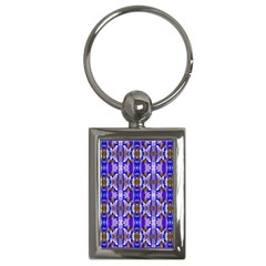 Blue White Abstract Flower Pattern Key Chains (rectangle)  by Costasonlineshop