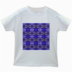 Blue White Abstract Flower Pattern Kids White T Shirts