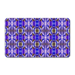Blue White Abstract Flower Pattern Magnet (rectangular) by Costasonlineshop