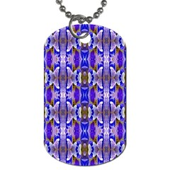 Blue White Abstract Flower Pattern Dog Tag (one Side)