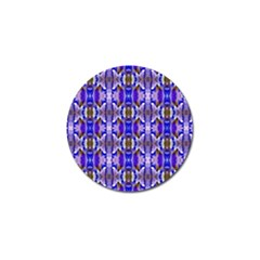 Blue White Abstract Flower Pattern Golf Ball Marker by Costasonlineshop