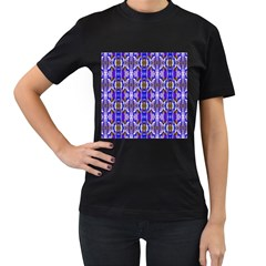 Blue White Abstract Flower Pattern Women s T Shirt (black) (two Sided) by Costasonlineshop